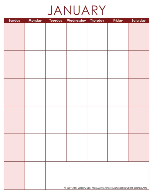 Blank Calendar Template - Free Printable Blank Calendars within Calendar With Only Weekdays Image