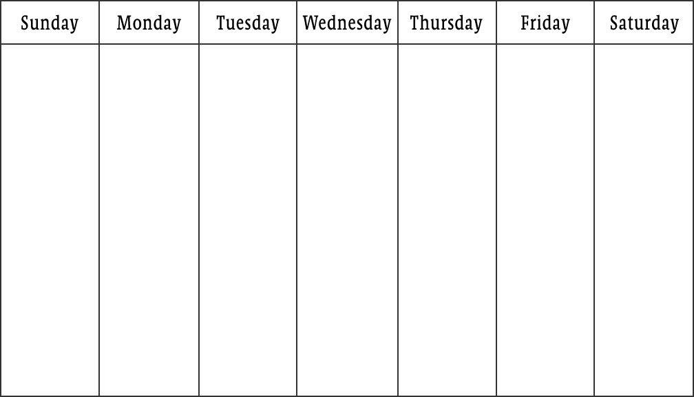 Blank Calendars - Weekly Blank Calendar Templates with Sunday Through Saturday Calendar Pdf