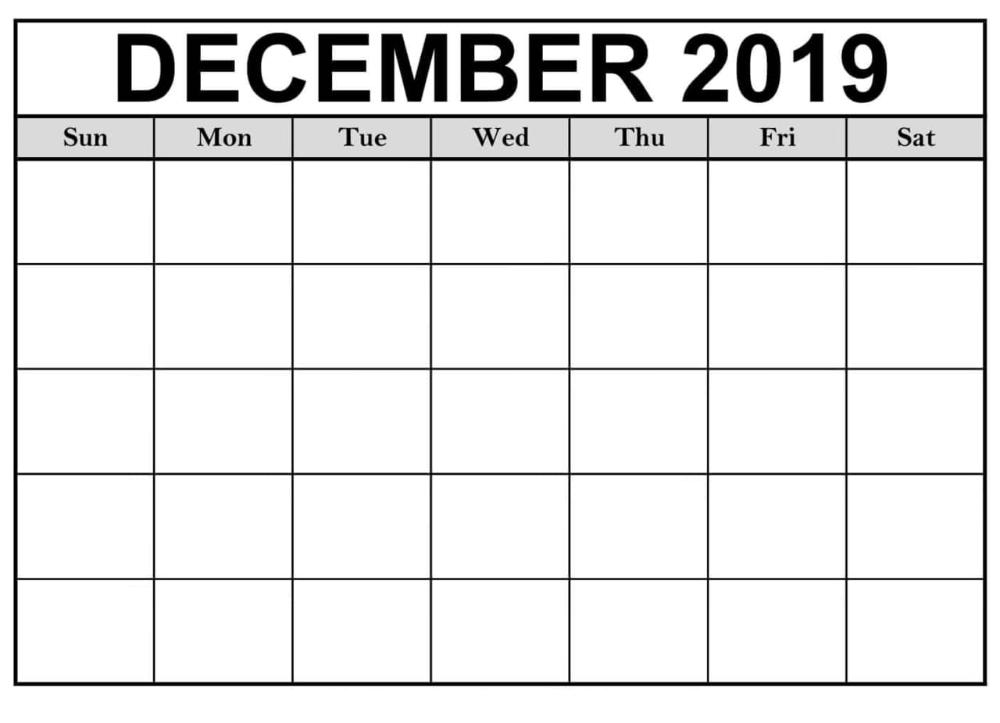 Blank December 2019 Calendar Printable | 12 Month Printable inside Printable Short Time Calendar
