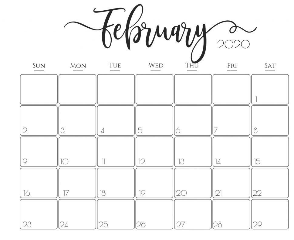 Blank Feb 2020 Calendar Printable Template With Holidays with regard to Print Calendars By Month You Can Write On