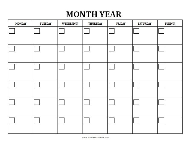 Blank Monthly Calendar - Free Printable - Allfreeprintable with Blank Monthly Calendar Printable