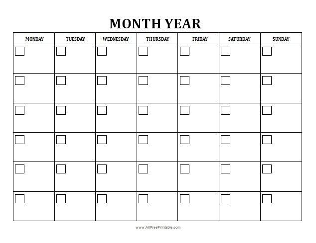 Blank Monthly Calendar - Free Printable - Allfreeprintable within Monthly Calendar Printable Image