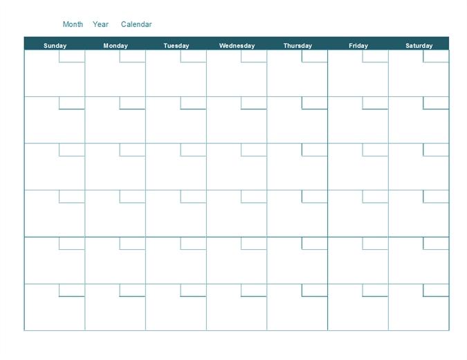 Blank Monthly Calendar intended for Plain Calendar Printable