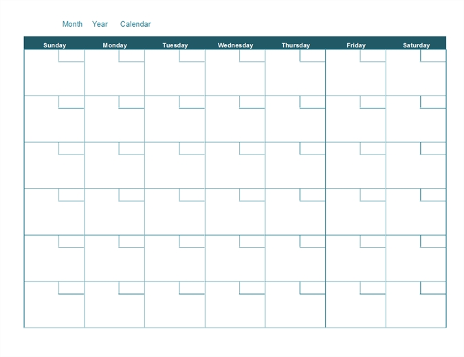 Blank Monthly Calendar with Blank Monthly Calendar Printable
