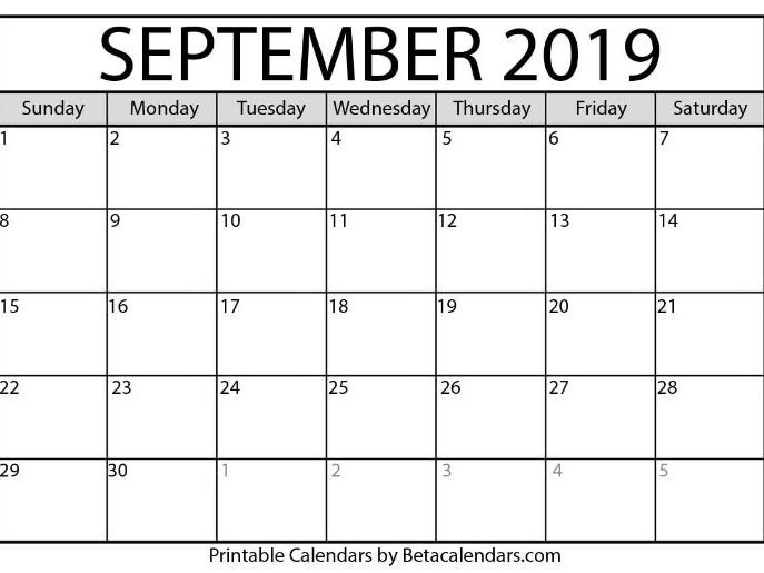 Blank September 2019 Calendar Printable | Teaching Resources with 8.5X11 Sept Calendar Page Photo