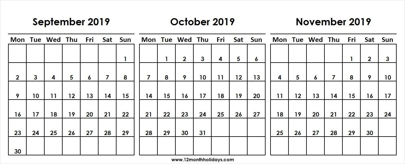 Blank Three Month Calendar September October November 2019 for Triple Month Printable Calendar