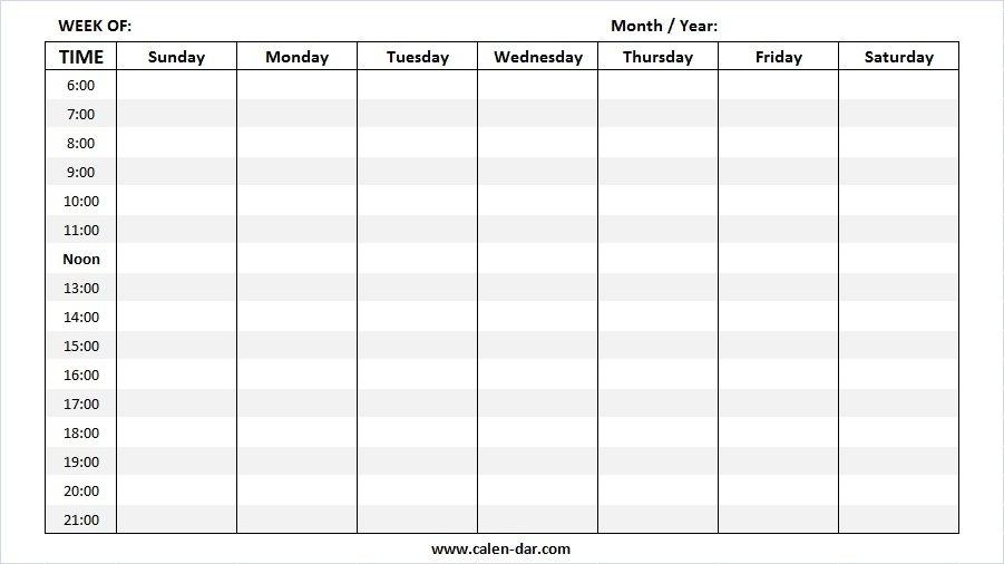 Blank Weekly Calendar Template | Printable Week Calendar Sample for Printable Blank Weekly Calendar