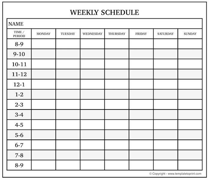 Blank Weekly Calendar With Time Slots | Monday To Sunday throughout Blank Sunday Thru Sunday Schedule Graphics