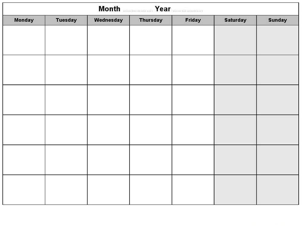 Blank Weekly Calendars Printable | Blank Weekly Calendar throughout Free Calendars Monday Thru Sunday Image