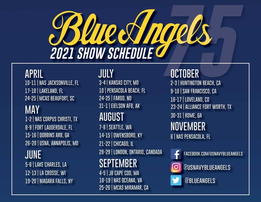 Blue Angels Release 2020 & 2021 Schedules — Airshow News regarding Calander For Blue Angels Photo