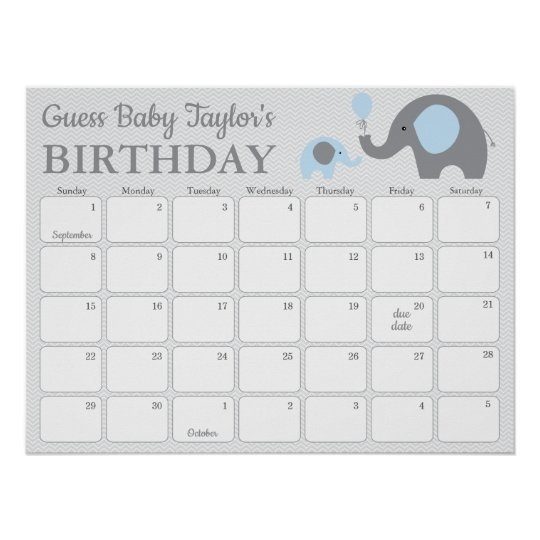 Blue Elephant Baby Birthday Prediction Calendar Poster in Printable Baby Guess Date Chart