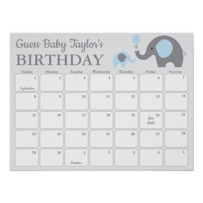 Blue Elephant Baby Birthday Prediction Calendar Poster | Zazzle throughout Free Printable Guess Baby Due Date Calendar