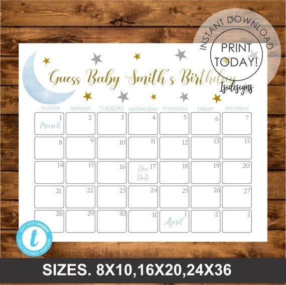 Blue Twinkle Little Star Due Date Calendar, Guess Babys inside Guess The Due Date Free Calendar Editable Graphics