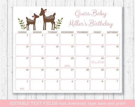 Blush Pink & Gold Glitter Dots Printable Baby Due Date throughout Printable Baby Due Date Calendar Graphics