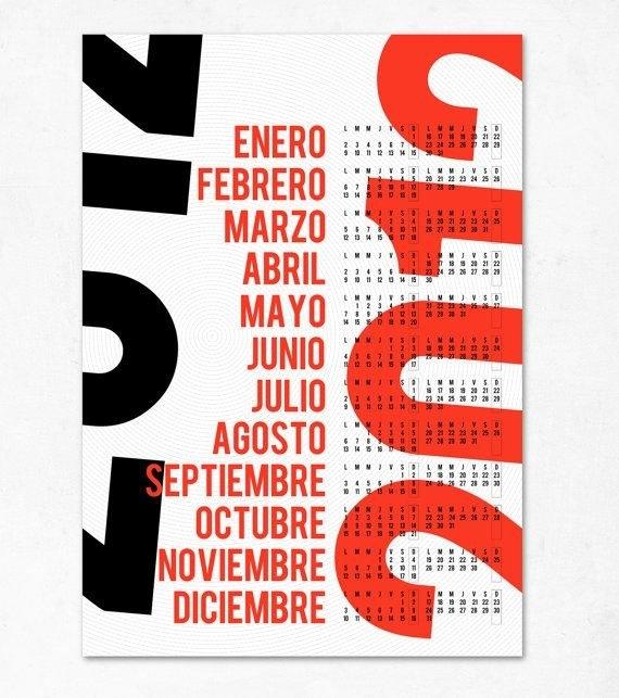 Bold, Typographic Calendar (Edubarba :: Etsy)   Modern throughout Extra Bold Large Print Calendars Image