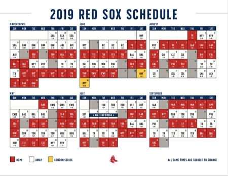Boston Red Sox 2019 Schedule: World Series Champions Begin in Red Sox Calendar Schedule