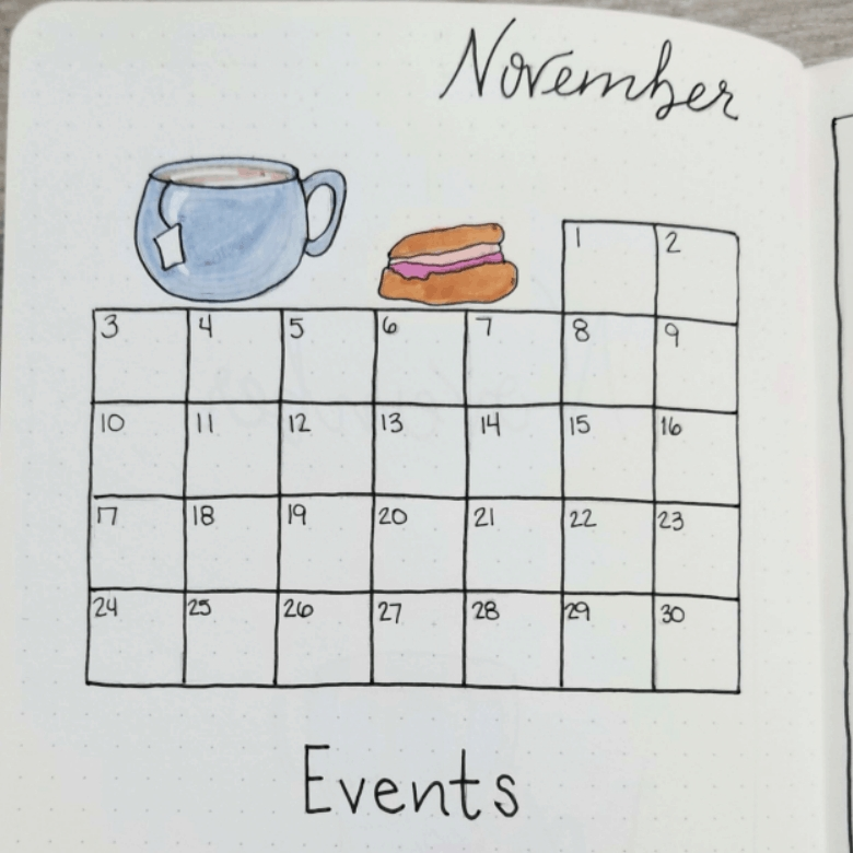 Bullet Journal Addict - 21 Easy Bullet Journal Monthly Spreads with Easy Fill In Calendar