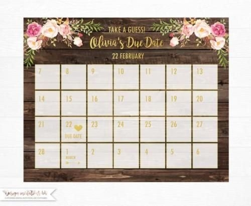Buy Now Guess Baby Birthday Calendar Baby Due Date Calendar with Due Date Guess February Calendar Graphics