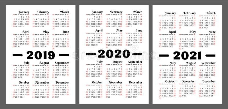 Calendar 2019, 2020, 2021 Years. Colorful Vector Set. Week with regard to Free Printable Monthly Calendar 2-020 Image