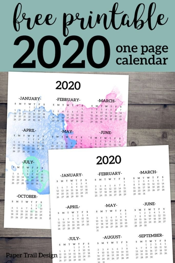 Calendar 2020 Printable One Page | Paper Trail Design | At A inside Free Calendar Templates Printable 11In By 17 In