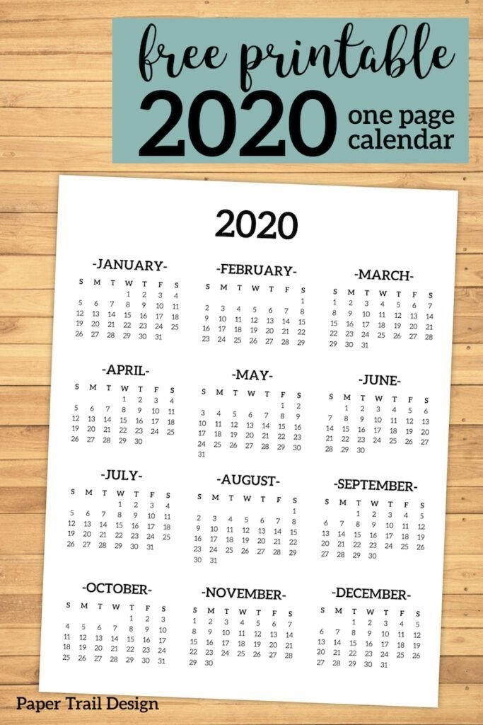Calendar 2020 Printable One Page   Planner Printables Free with regard to Single Page Single Day Calendar Image