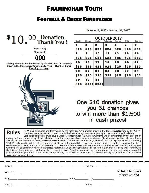 Calendar Fundraising Kit with Daily Number Lottery Fundraiser Tickets