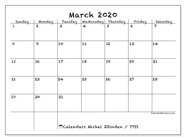 Calendar March 2020 - 77Ss - Michel Zbinden En with regard to Print Monday Through Sunday Calendar