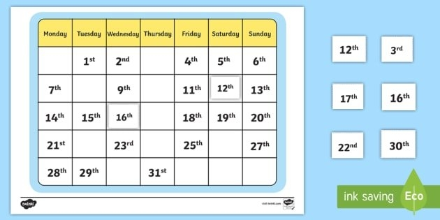 Calendar Missing Ordinal Number Worksheet / Worksheet with Ordinal Claendar