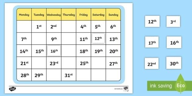 Calendar Missing Ordinal Number Worksheet / Worksheet with September Calendar With Ordinal Numbers Photo