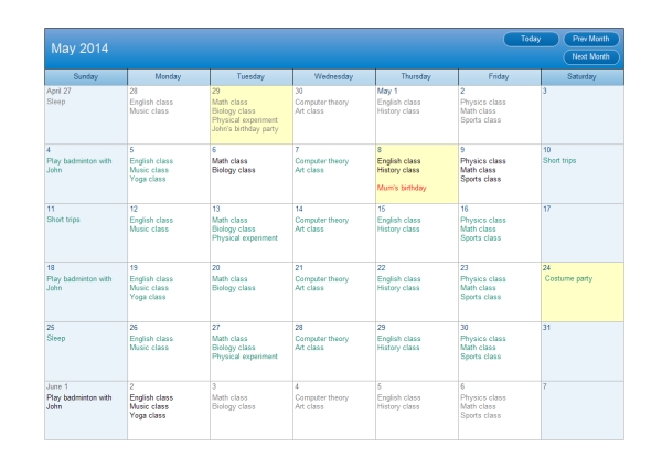 Calendar Plan Examples And Templates with Samples Of Calensars