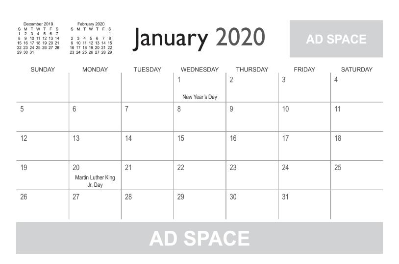 Calendar Templates | Printingcenterusa with regard to 8 1/2 X 11 Blank Calendar Printable