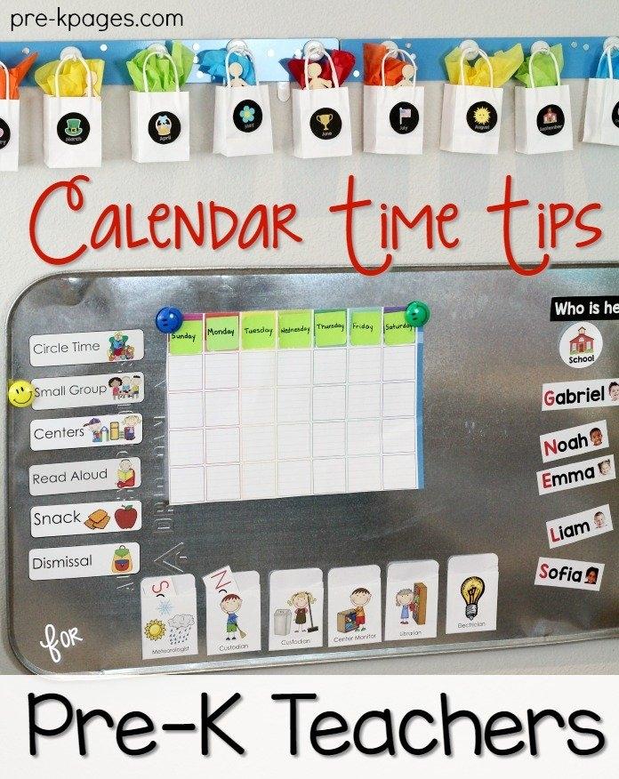 Calendar Time Tips For Pre-K Teachers with Printable Short Time Calendar Photo