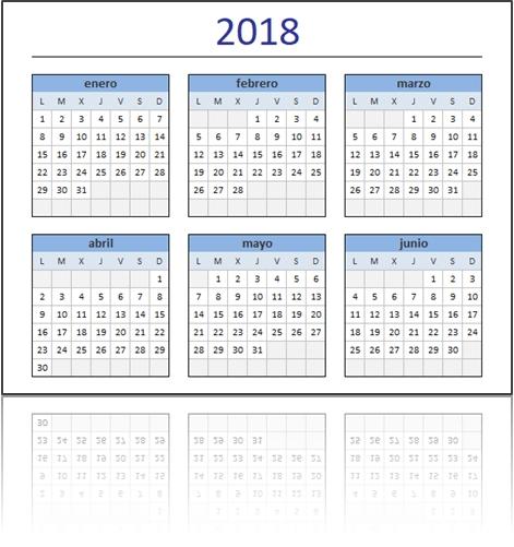 Calendario 2018 En Excel Listo Para Imprimir - Excel Total in Calendarios Excel