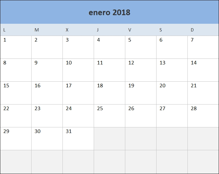 Calendario 2018 En Excel Listo Para Imprimir - Excel Total within Excel Calendario Descargar Image