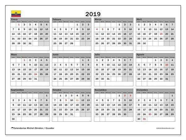 Calendario 2019 Ecuador - Buscar Con Google | Calendar within Calendar Ticino Graphics