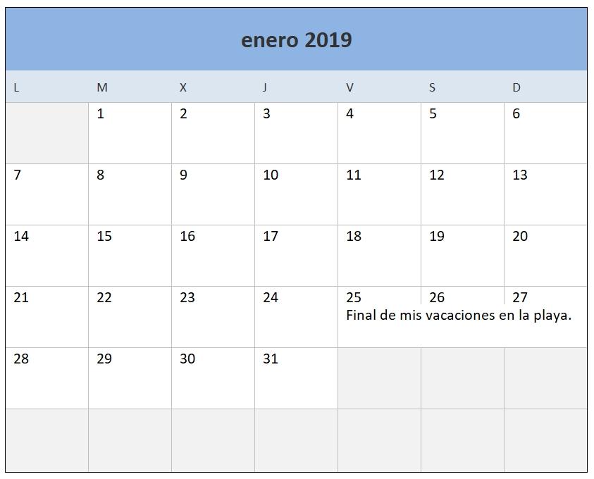 Calendario 2019 En Excel. Plantilla Gratis Y Lista Para with regard to Agenda Calendario Excel Gratis