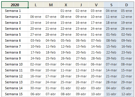Calendario 2020 En Excel • Excel Total throughout Calendário Juliano 2020 Excel