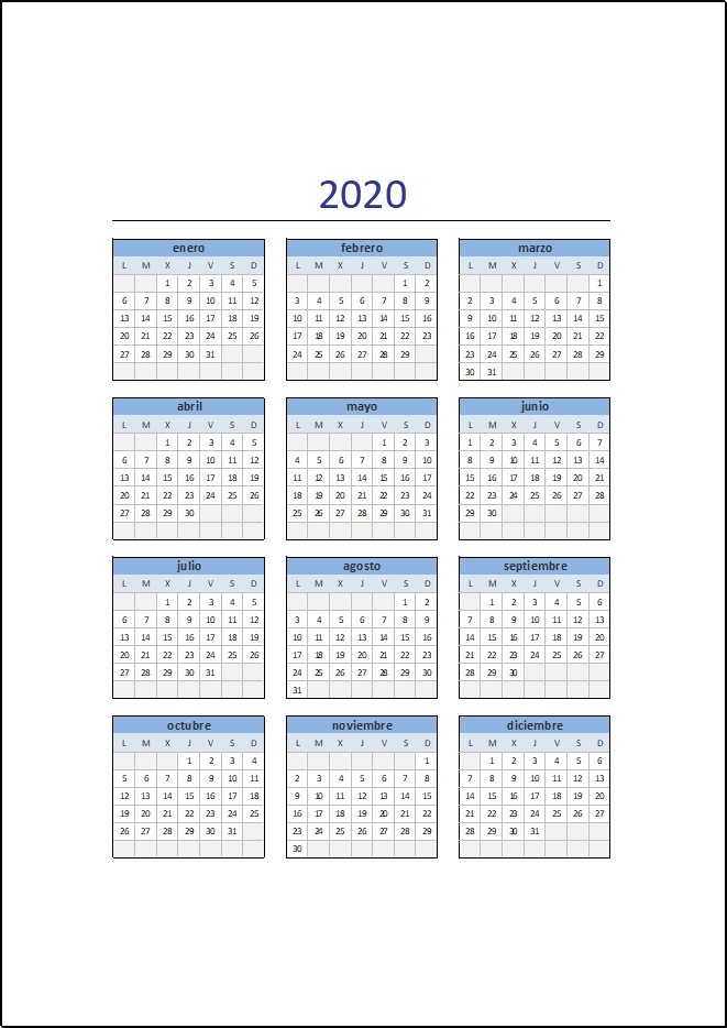 Calendario 2020 En Excel • Excel Total with Calendarios Excel Photo