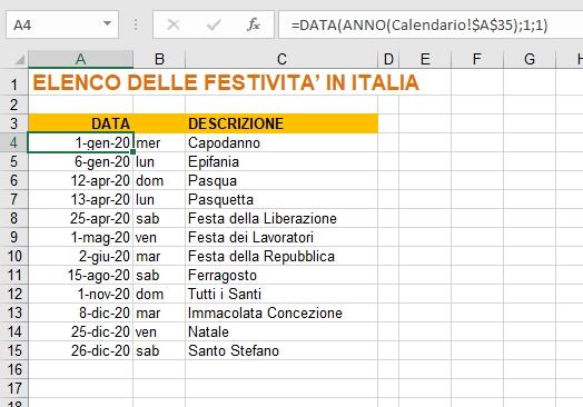 Calendario 2020 In Formato Excel Con Le Festività Italiane inside Piano Ferie 2020 Formato Excel
