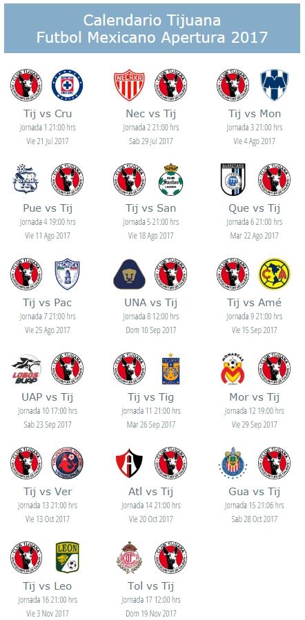 Calendario De Xolos Tijuana Apertura 2017 Del Futbol for Xolos De Tijuana Calendario