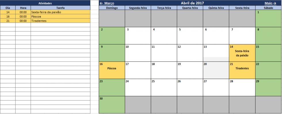 Calendário E Agenda De Tarefas 2017 No Excel in Agenda Calendario Excel