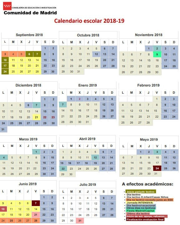 Calendario Escolar Para El Curso 2018-2019 En Los Centros pertaining to Calendario De Vacaciones Firma