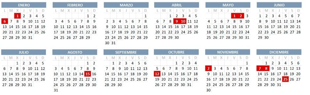 Calendario Laboral 2020 Con Festivos for Calendario De Vacaciones Firma