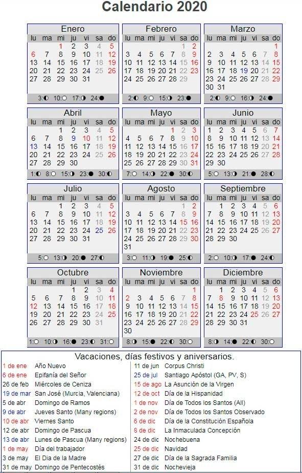 Calendario Laboral Año 2020 En España inside Dia Juliano 2020 Image