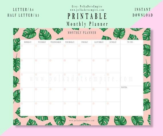 Calendario Mensile Stampabile | Download Istantaneo with Calendariosy Agendas