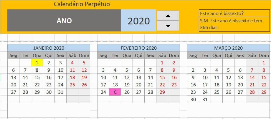 Calendário Perpétuo Com Feriados Excel Portugal in Calendário Juliano 2020 Excel Image