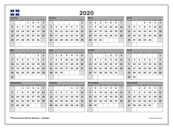 Calendrier 2020, Québec (Canada) | Calendar Printables, Free with regard to Calendar Ticino