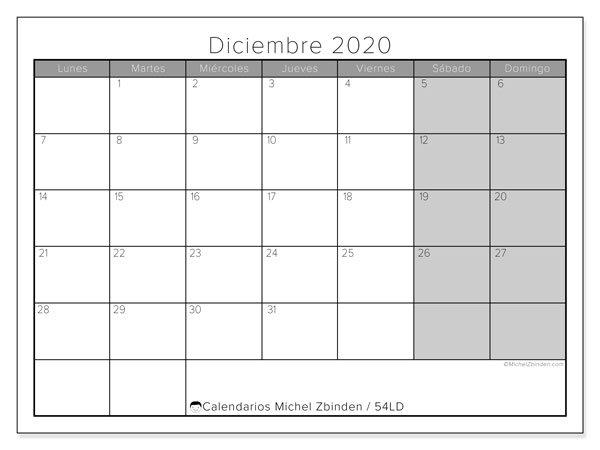 Calendrier Diciembre 2020 - 54Ld - Michel Zbinden Es with Vertex Imprimir Calendasrio