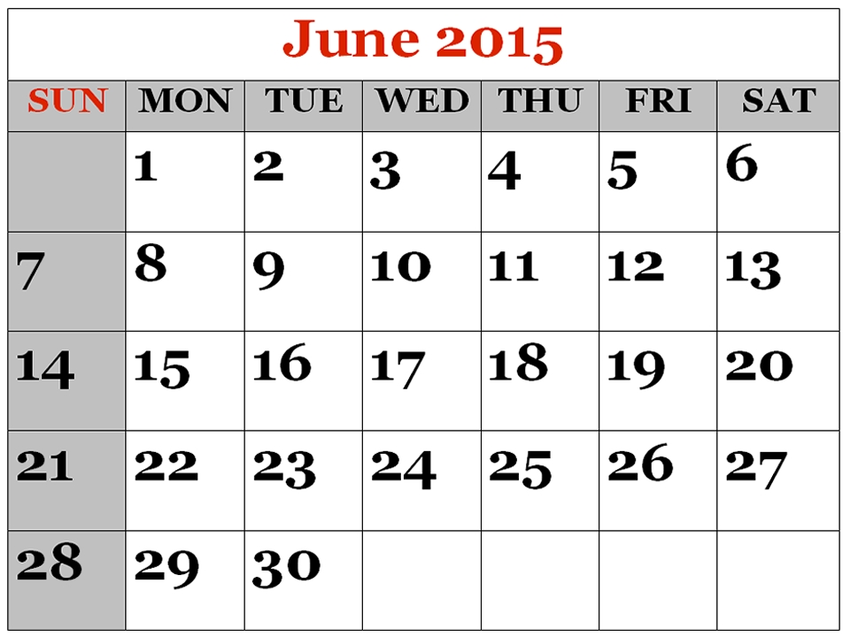 Check Out Blank June 2015 Calendar Page, Template, Word regarding Printable Calendar That Shows Each Day Numbered Out Of 365 Image