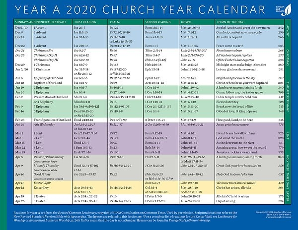Church Year Calendar 2020, Year A within Methodist Parament Colors Calendar